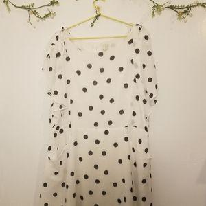 A new day white  polka dot flowy spring dress